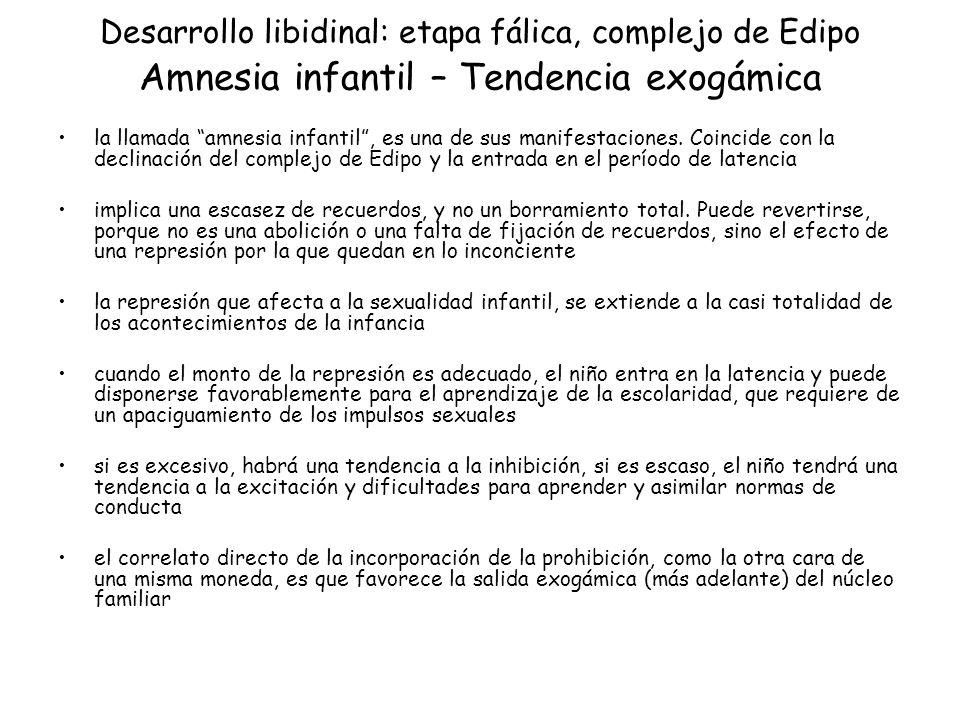 Desarrollo libidinal: etapa fálica, complejo de Edipo Amnesia infantil – Tendencia exogámica