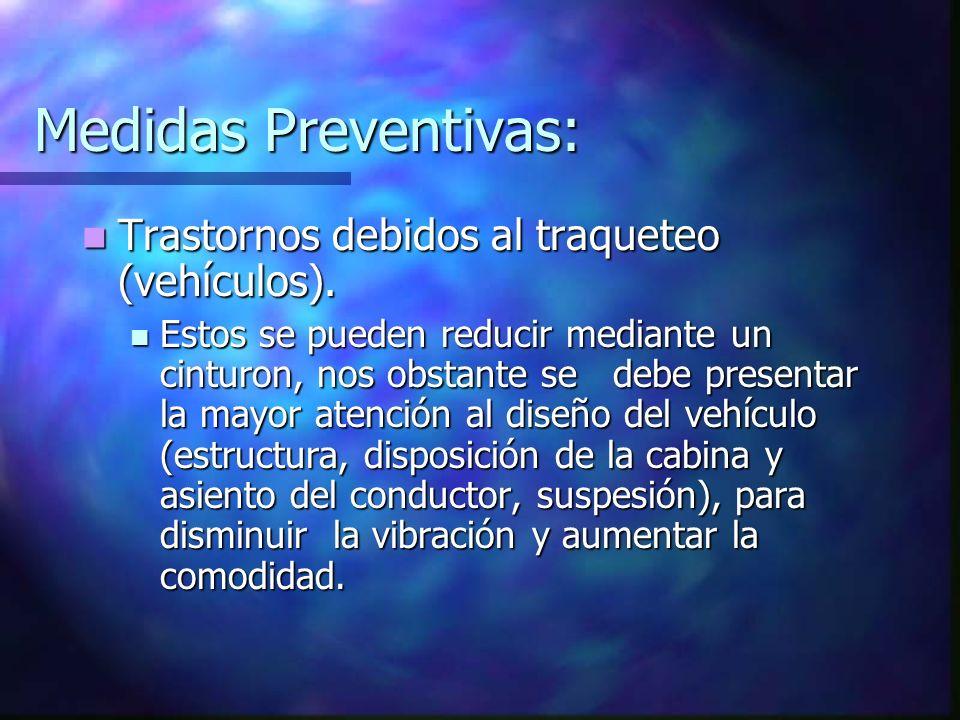 Medidas Preventivas: Trastornos debidos al traqueteo (vehículos).