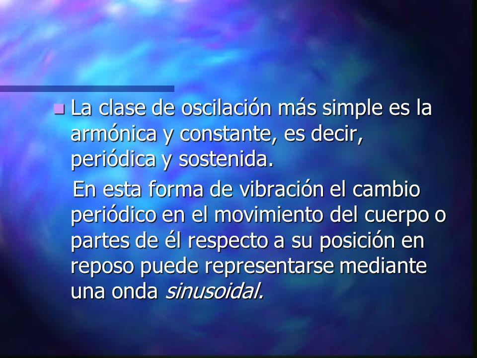 La clase de oscilación más simple es la armónica y constante, es decir, periódica y sostenida.