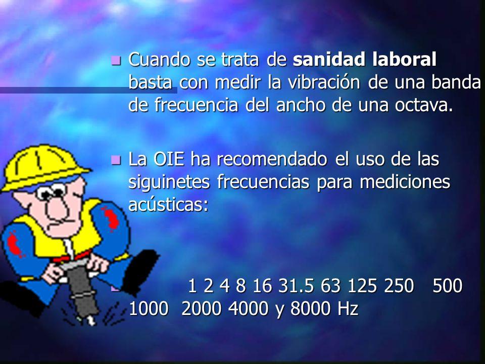 Cuando se trata de sanidad laboral basta con medir la vibración de una banda de frecuencia del ancho de una octava.