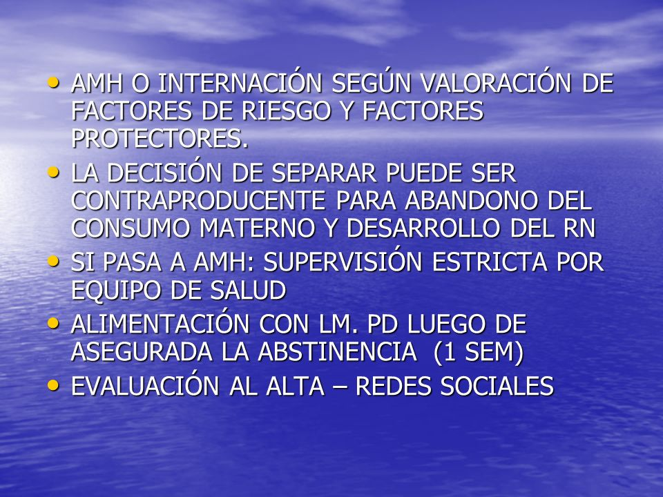 AMH O INTERNACIÓN SEGÚN VALORACIÓN DE FACTORES DE RIESGO Y FACTORES PROTECTORES.