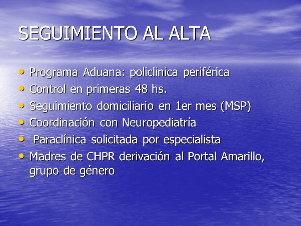 SEGUIMIENTO AL ALTA Programa Aduana: policlinica periférica