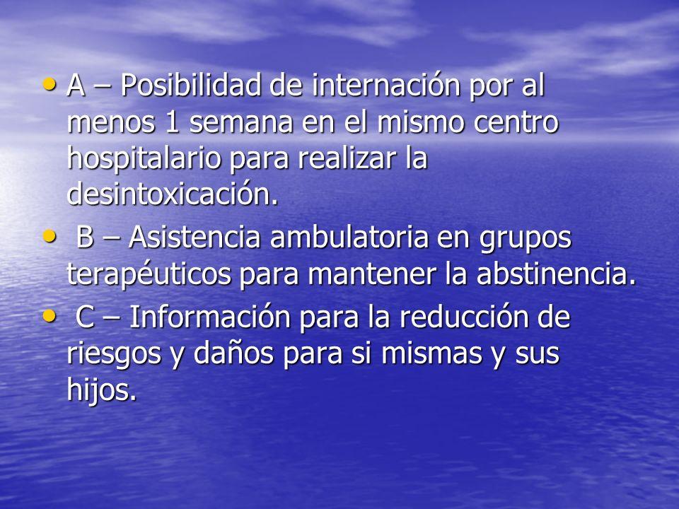 A – Posibilidad de internación por al menos 1 semana en el mismo centro hospitalario para realizar la desintoxicación.