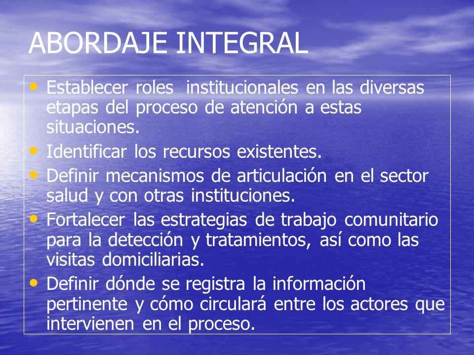 ABORDAJE INTEGRAL Establecer roles institucionales en las diversas etapas del proceso de atención a estas situaciones.