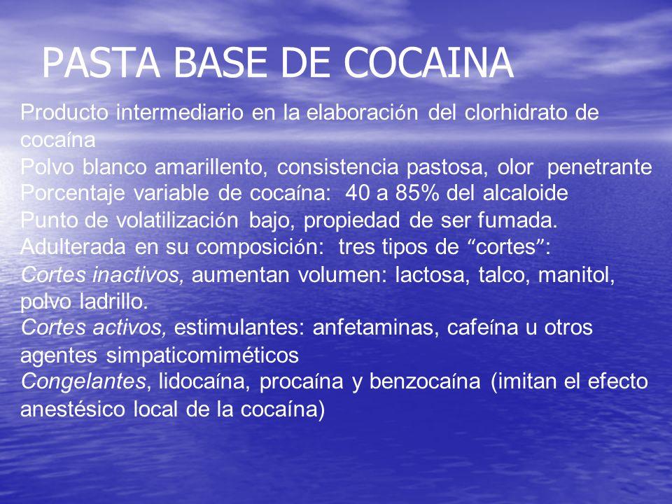 PASTA BASE DE COCAINA Producto intermediario en la elaboración del clorhidrato de cocaína.