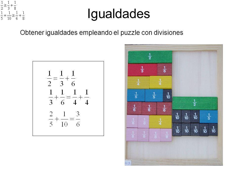 Igualdades Obtener igualdades empleando el puzzle con divisiones