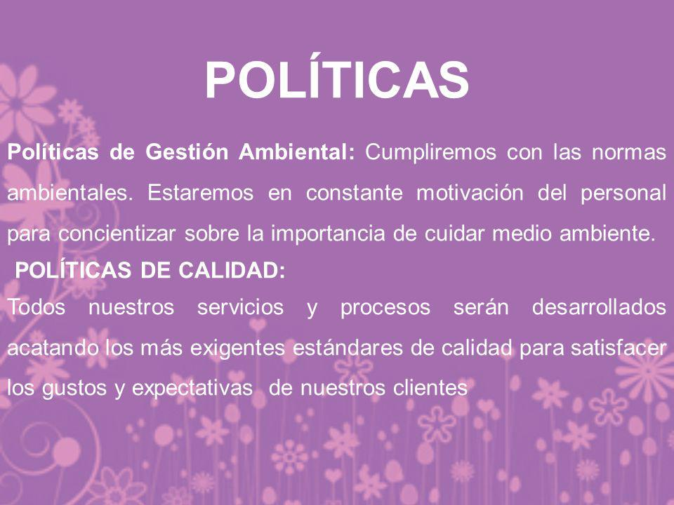 POLÍTICAS POLÍTICAS DE CALIDAD: