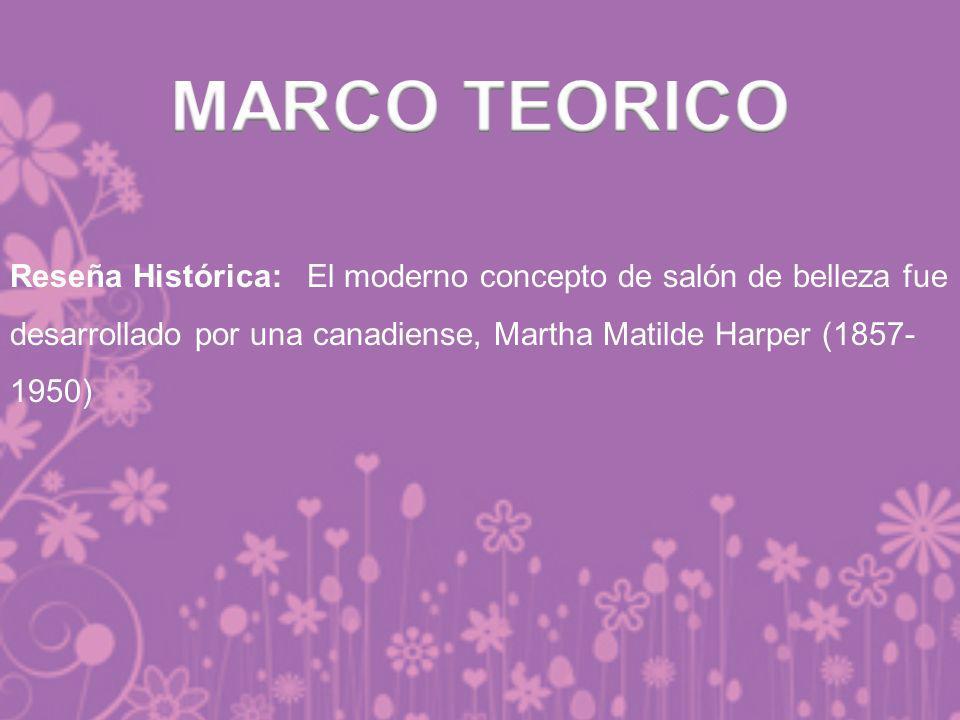MARCO TEORICO Reseña Histórica: El moderno concepto de salón de belleza fue desarrollado por una canadiense, Martha Matilde Harper (1857-1950)