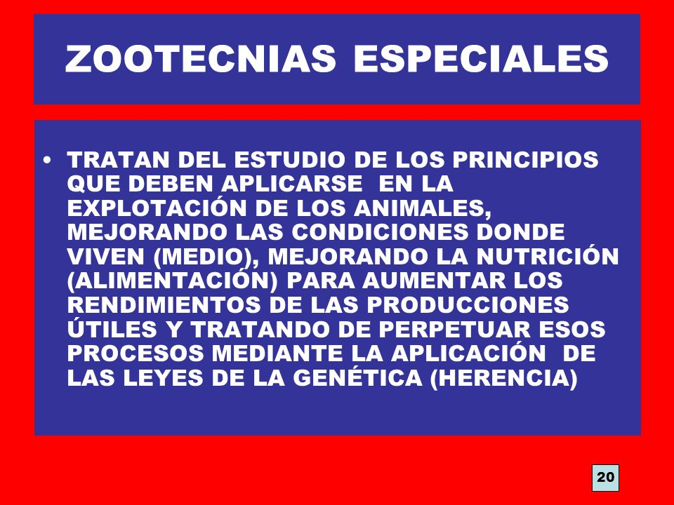 ZOOTECNIAS ESPECIALES