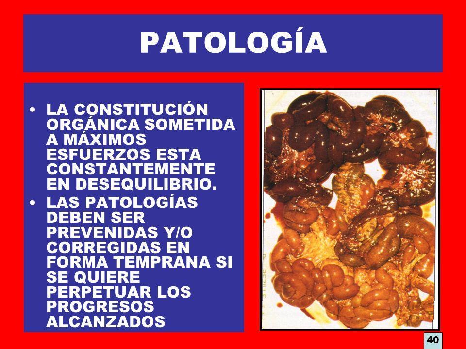 PATOLOGÍA LA CONSTITUCIÓN ORGÁNICA SOMETIDA A MÁXIMOS ESFUERZOS ESTA CONSTANTEMENTE EN DESEQUILIBRIO.
