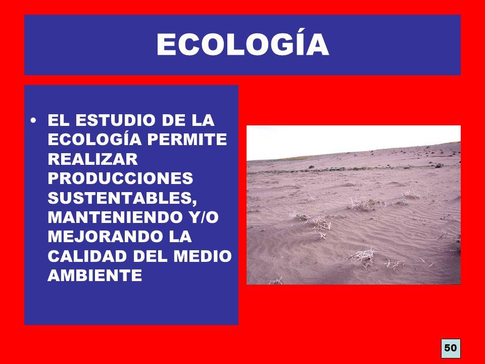 ECOLOGÍA EL ESTUDIO DE LA ECOLOGÍA PERMITE REALIZAR PRODUCCIONES SUSTENTABLES, MANTENIENDO Y/O MEJORANDO LA CALIDAD DEL MEDIO AMBIENTE.