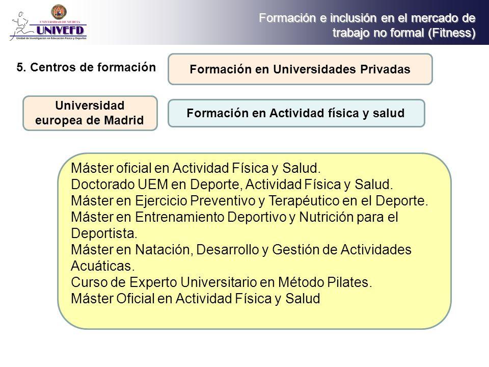 Máster oficial en Actividad Física y Salud.