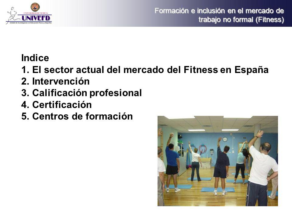 Indice El sector actual del mercado del Fitness en España. Intervención. Calificación profesional.