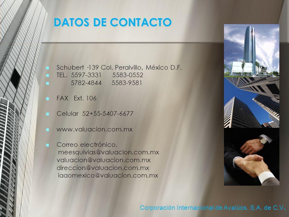 DATOS DE CONTACTO Schubert ·139 Col. Peralvillo, México D.F.