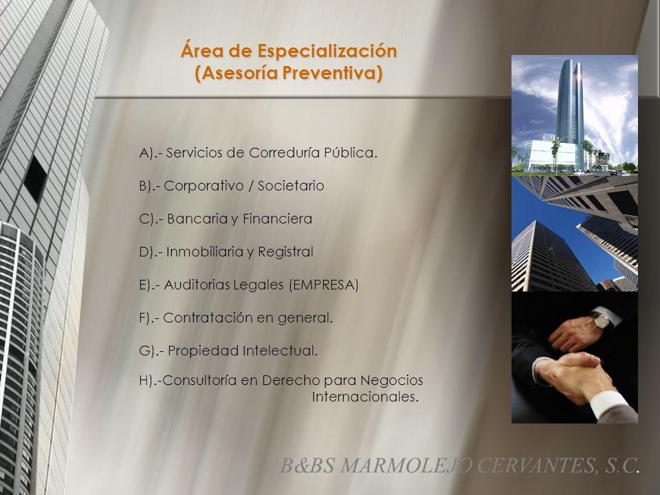 Área de Especialización (Asesoría Preventiva)