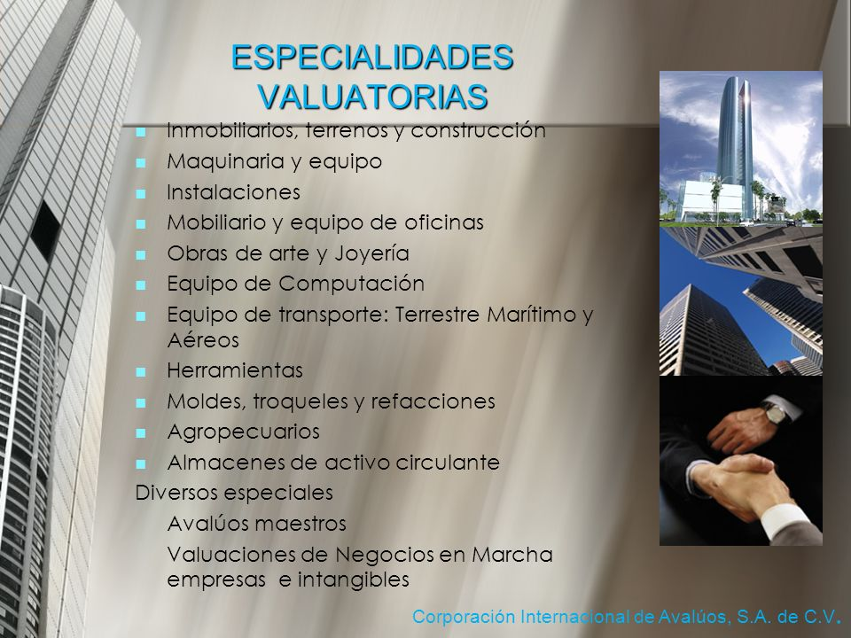 ESPECIALIDADES VALUATORIAS