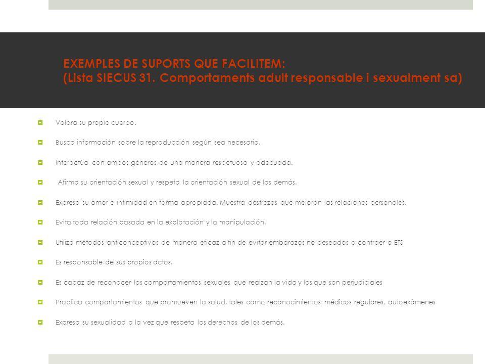EXEMPLES DE SUPORTS QUE FACILITEM: (Lista SIECUS 31