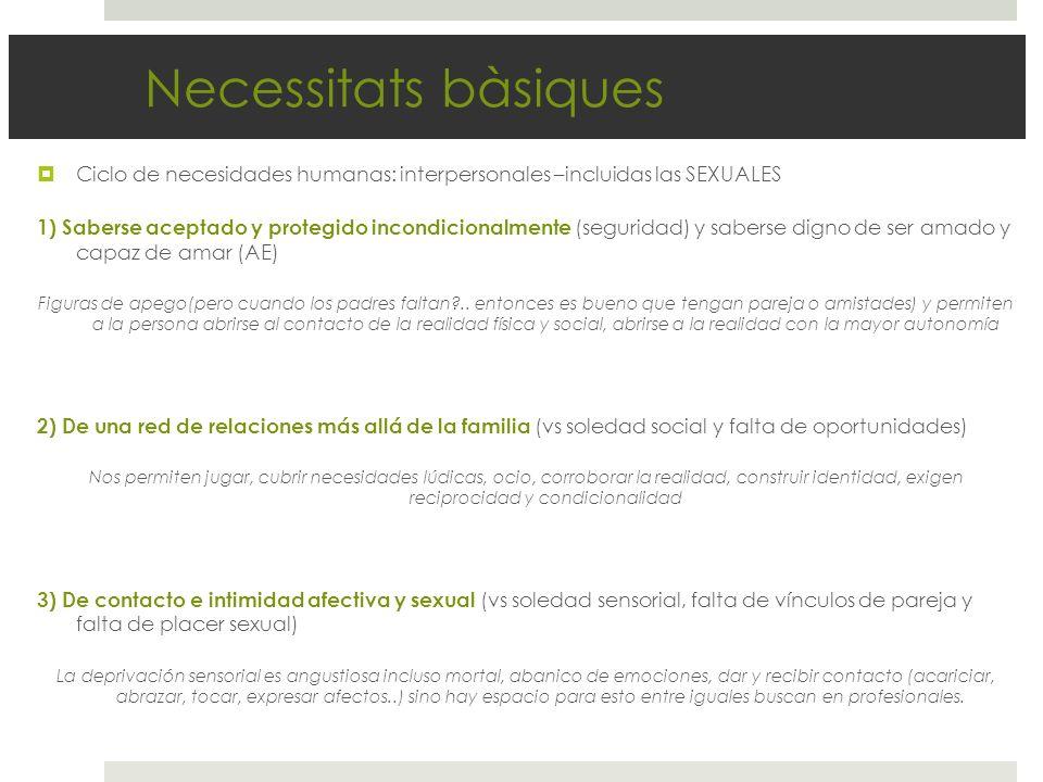 Necessitats bàsiques Ciclo de necesidades humanas: interpersonales –incluidas las SEXUALES.