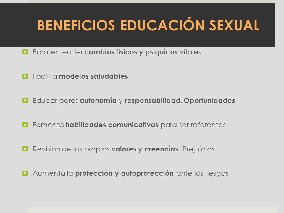 BENEFICIOS EDUCACIÓN SEXUAL