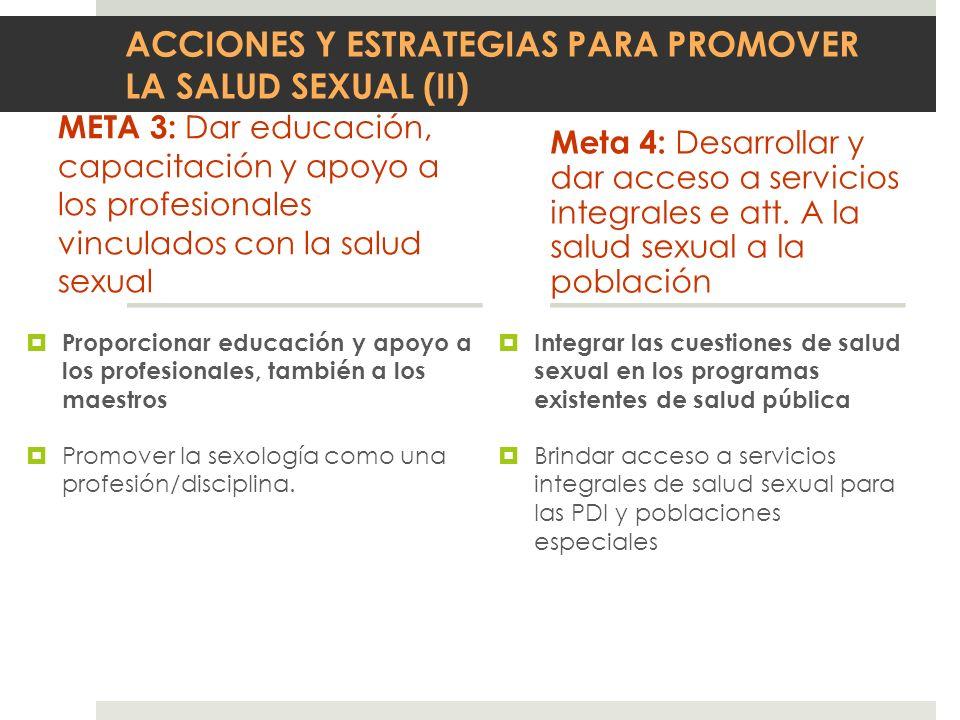 ACCIONES Y ESTRATEGIAS PARA PROMOVER LA SALUD SEXUAL (II)