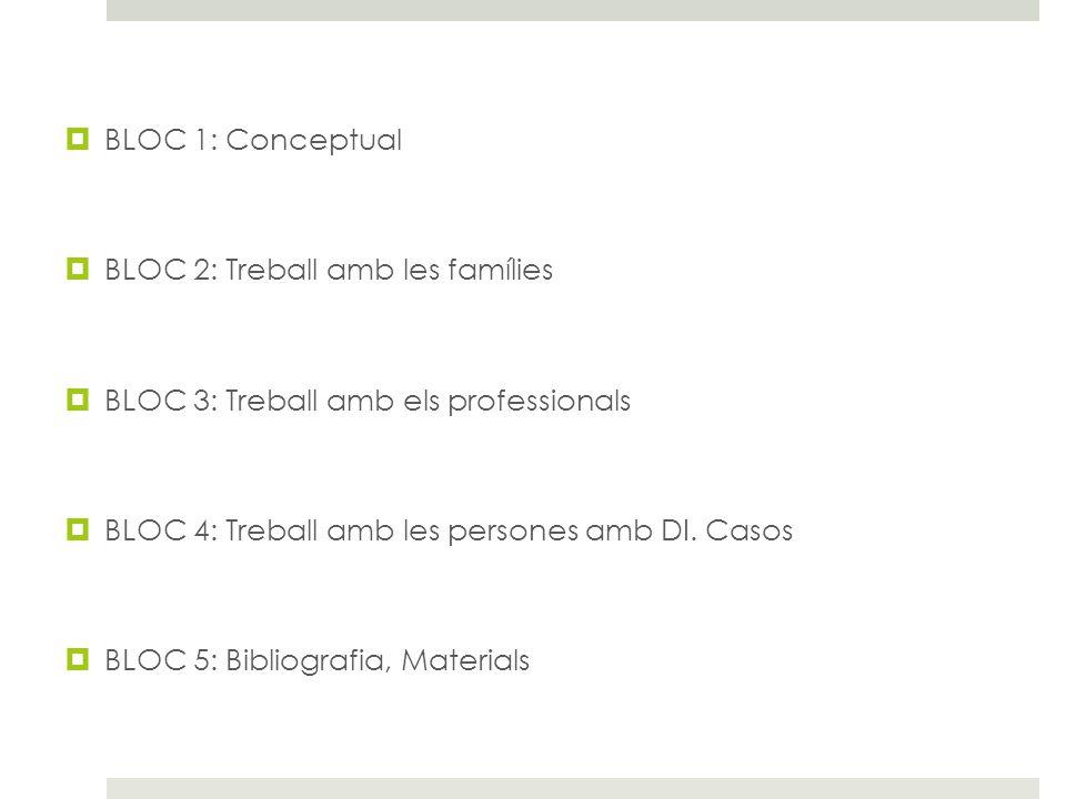 BLOC 1: Conceptual BLOC 2: Treball amb les famílies. BLOC 3: Treball amb els professionals. BLOC 4: Treball amb les persones amb DI. Casos.