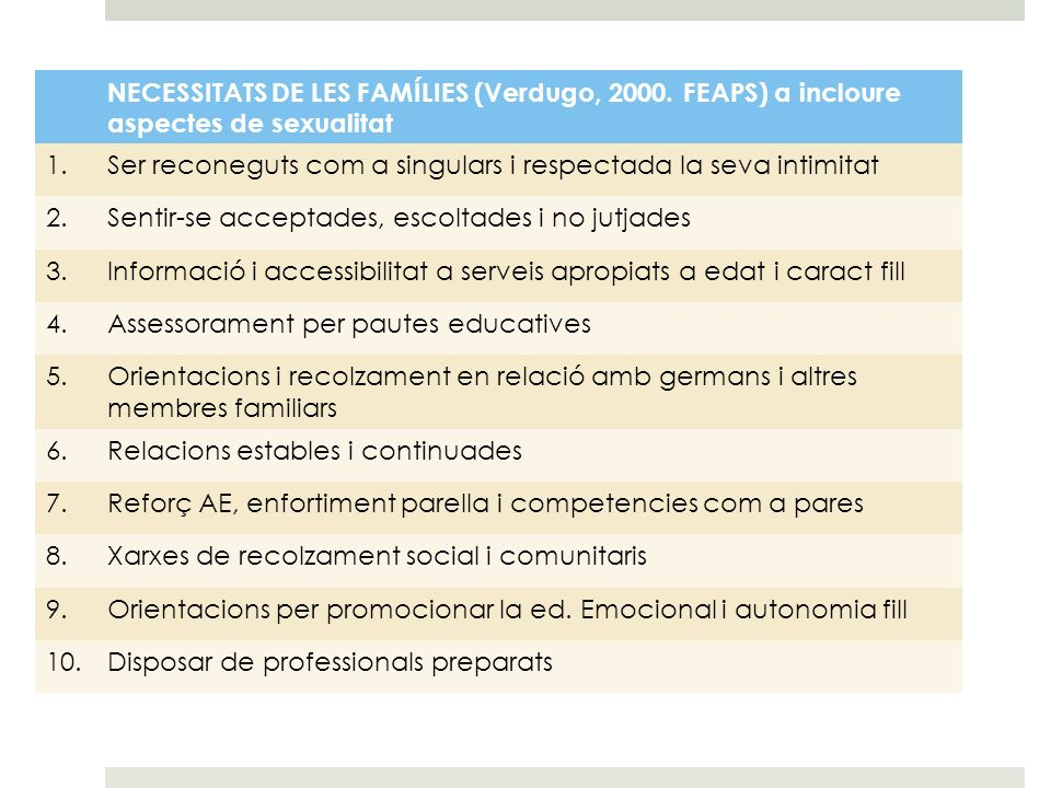 NECESSITATS DE LES FAMÍLIES (Verdugo, 2000