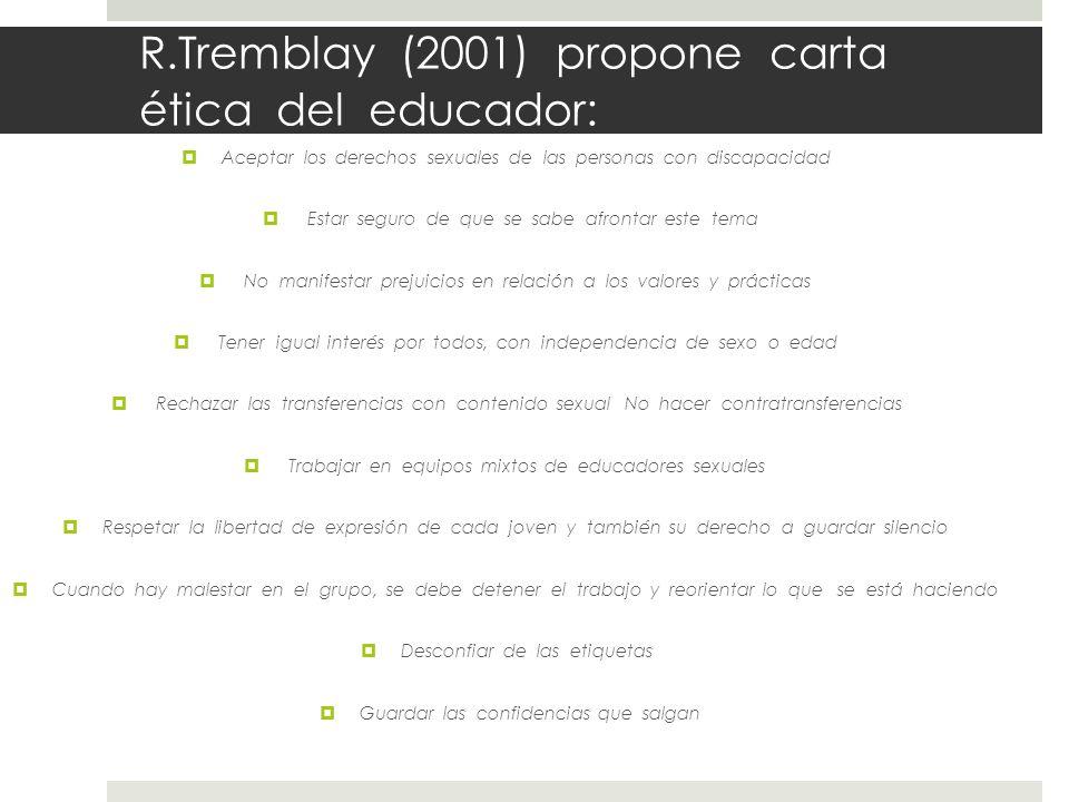 R.Tremblay (2001) propone carta ética del educador: