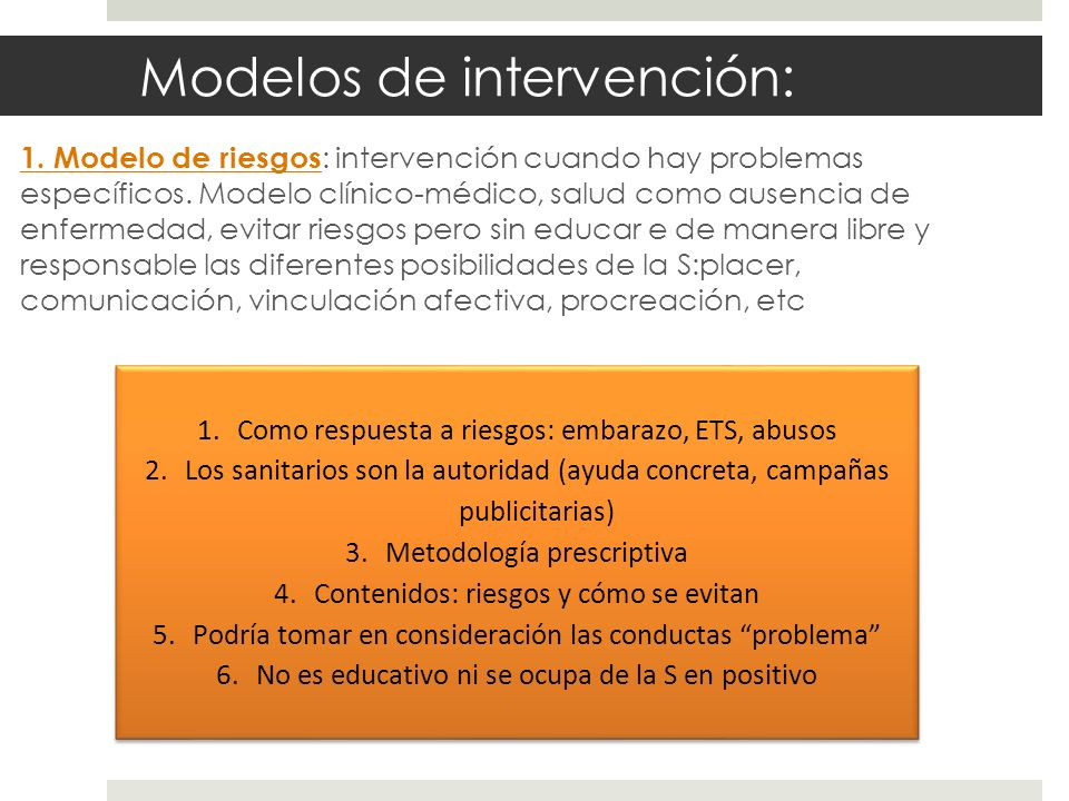 Modelos de intervención: