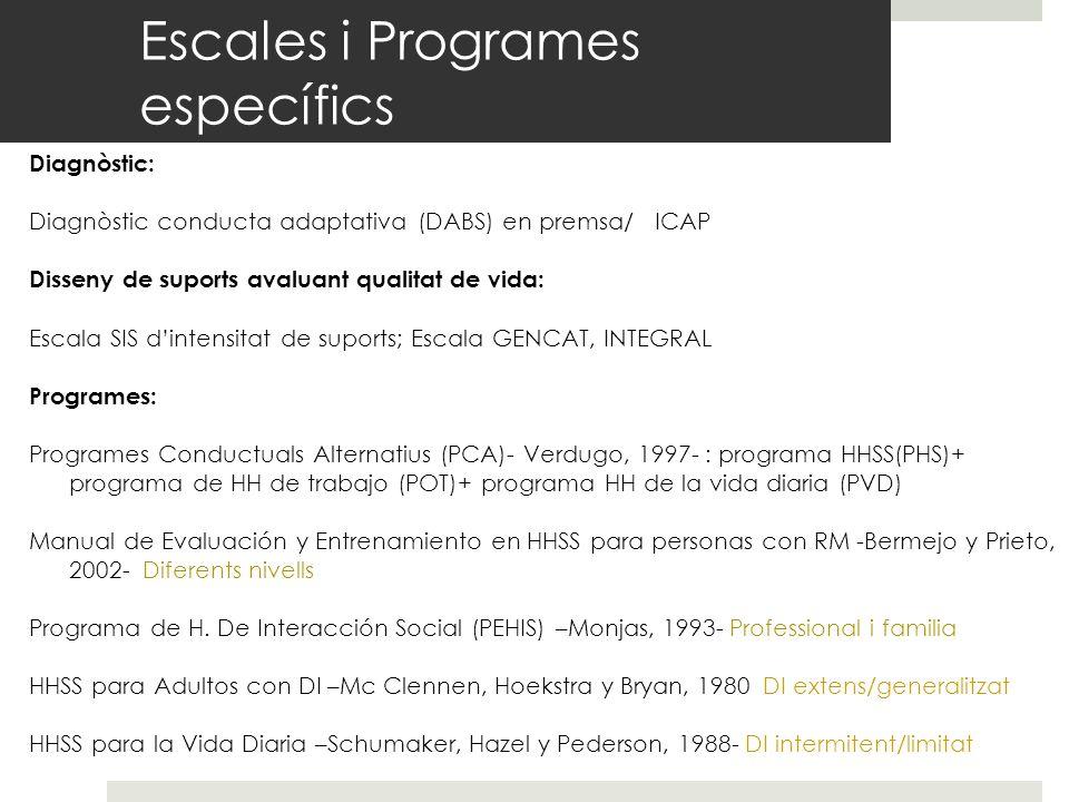 Escales i Programes específics