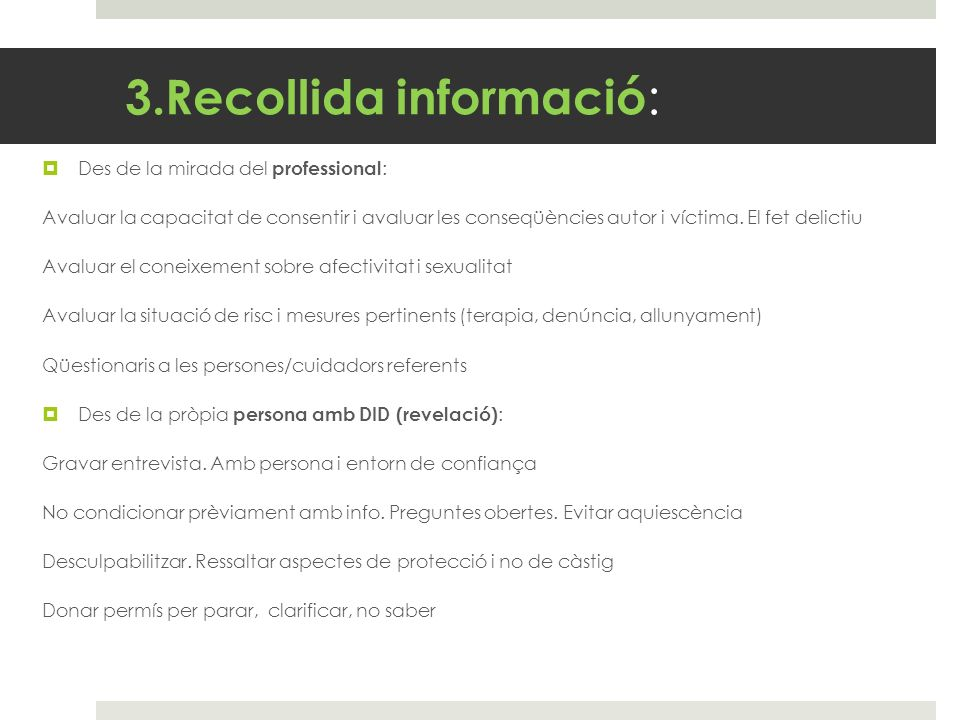 3.Recollida informació: