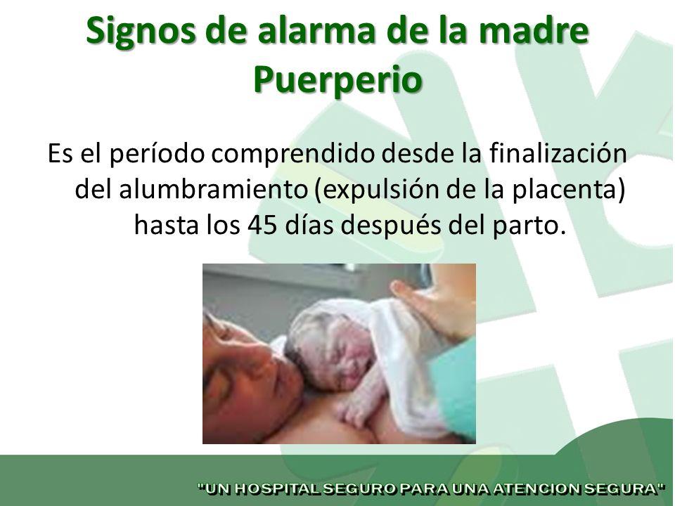 Signos de alarma de la madre Puerperio