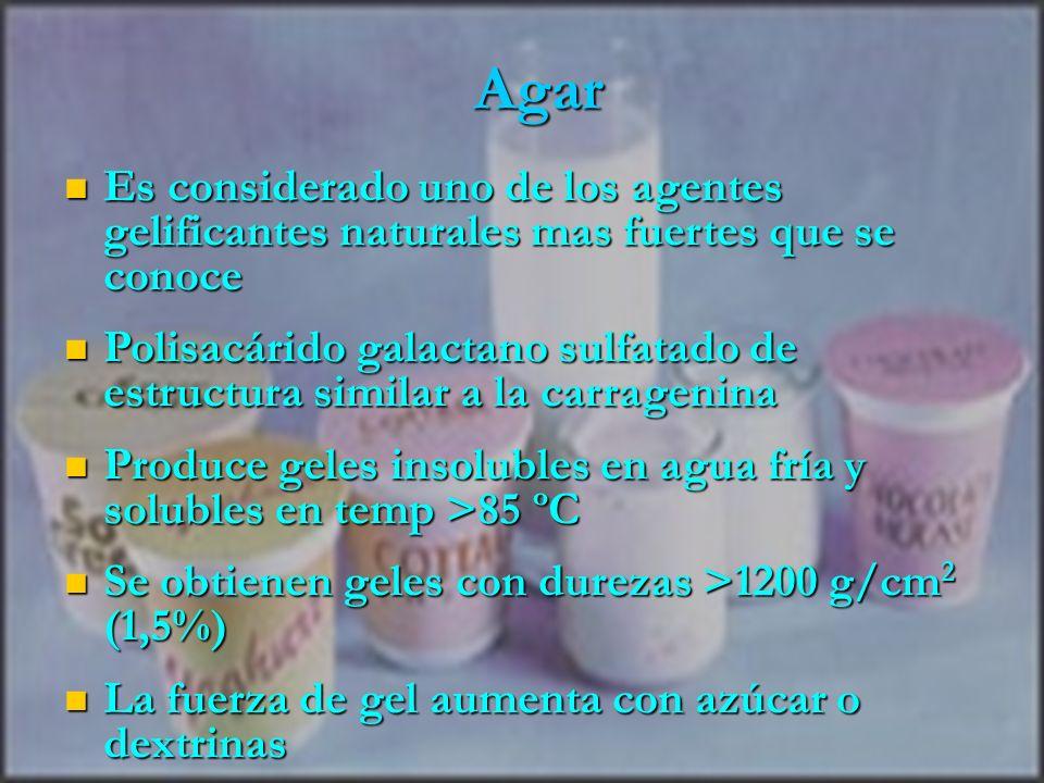 Agar Es considerado uno de los agentes gelificantes naturales mas fuertes que se conoce.