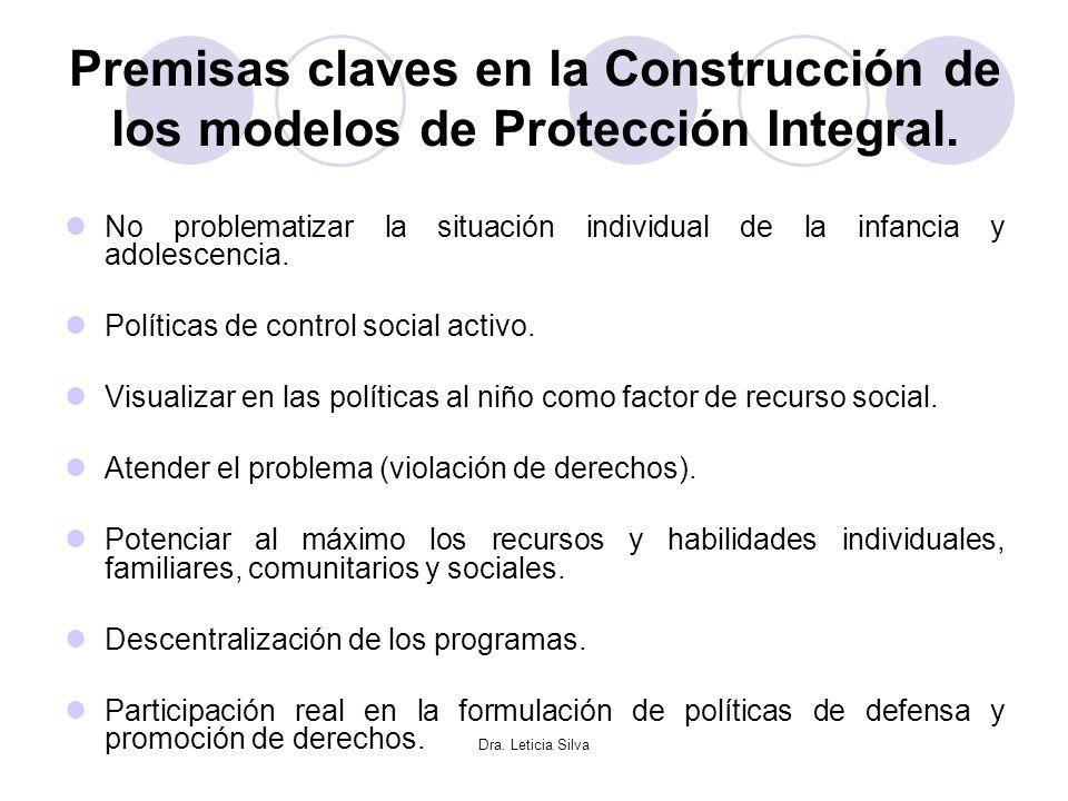 Premisas claves en la Construcción de los modelos de Protección Integral.