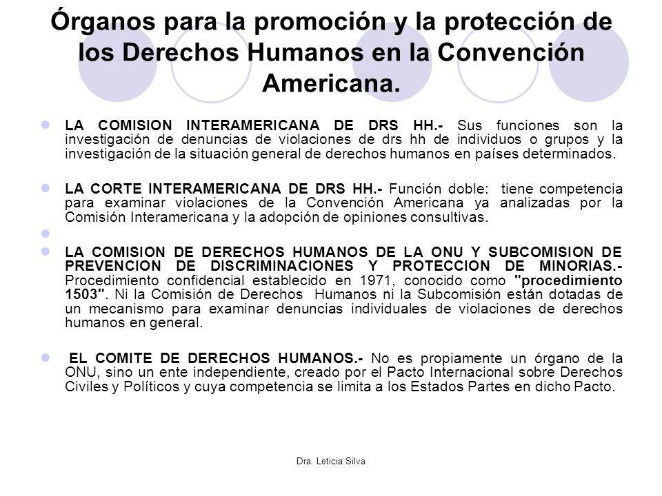 Órganos para la promoción y la protección de los Derechos Humanos en la Convención Americana.