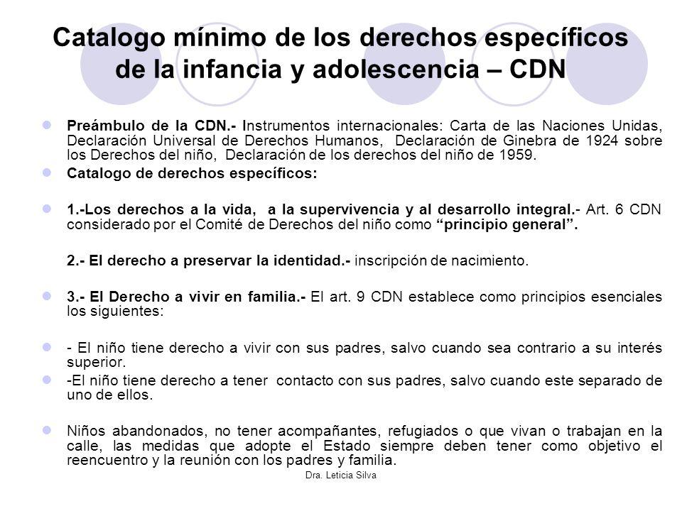 Catalogo mínimo de los derechos específicos de la infancia y adolescencia – CDN