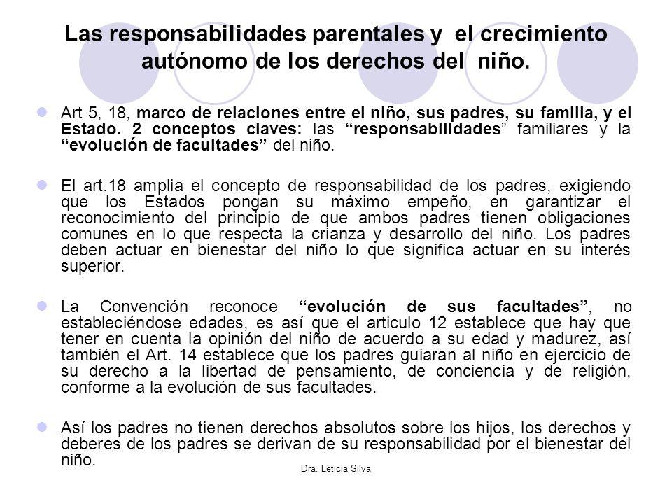 Las responsabilidades parentales y el crecimiento autónomo de los derechos del niño.