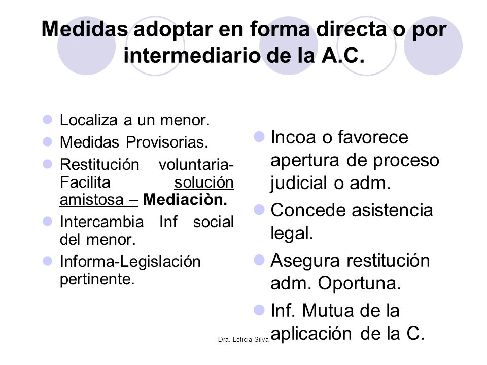 Medidas adoptar en forma directa o por intermediario de la A.C.