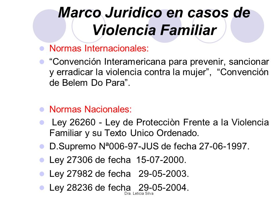 Marco Juridico en casos de Violencia Familiar
