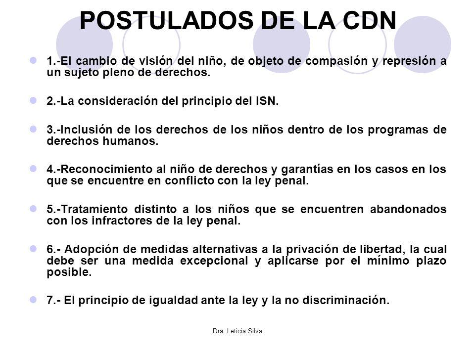 POSTULADOS DE LA CDN 1.-El cambio de visión del niño, de objeto de compasión y represión a un sujeto pleno de derechos.
