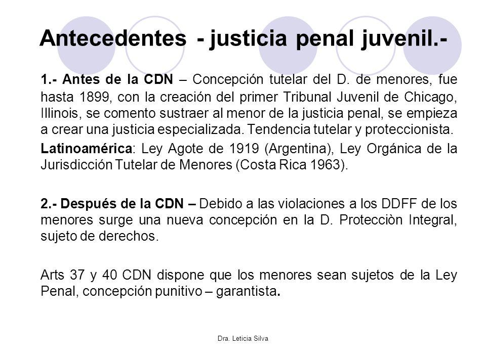 Antecedentes - justicia penal juvenil.-