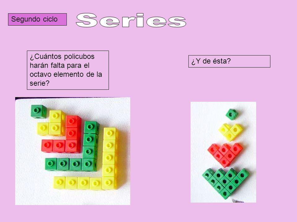Segundo ciclo Series. ¿Cuántos policubos harán falta para el octavo elemento de la serie.