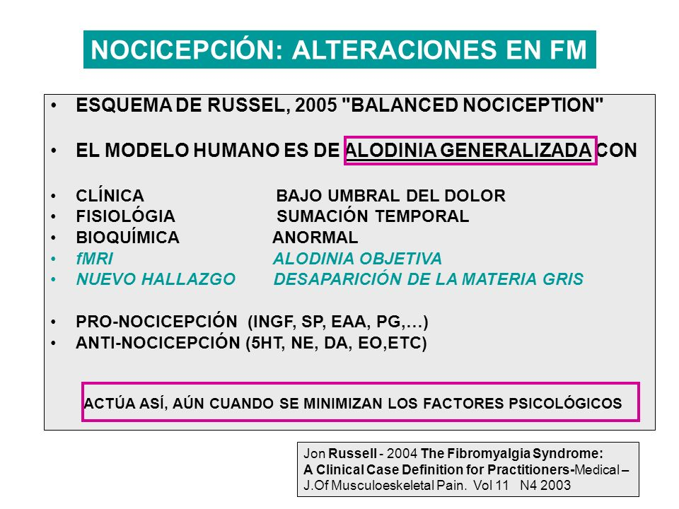 NOCICEPCIÓN: ALTERACIONES EN FM