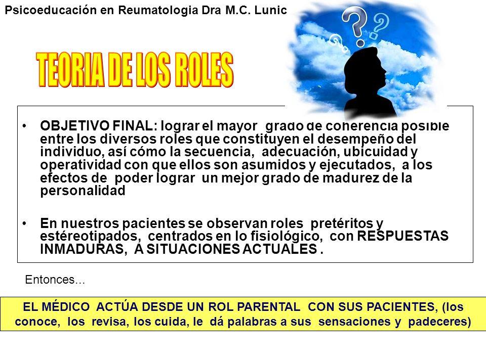 Psicoeducación en Reumatologia Dra M.C. Lunic