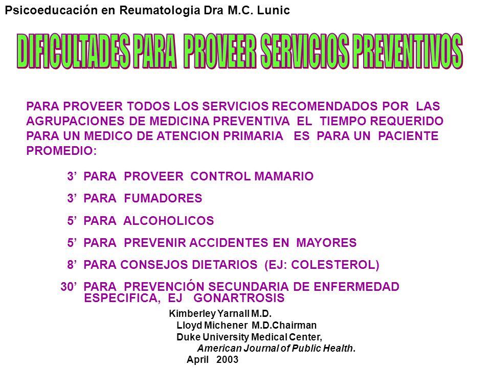 DIFICULTADES PARA PROVEER SERVICIOS PREVENTIVOS
