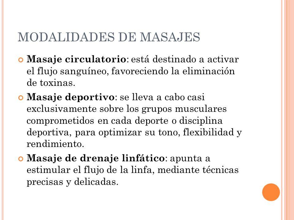 MODALIDADES DE MASAJES