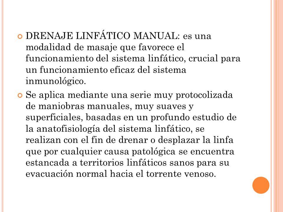 DRENAJE LINFÁTICO MANUAL: es una modalidad de masaje que favorece el funcionamiento del sistema linfático, crucial para un funcionamiento eficaz del sistema inmunológico.
