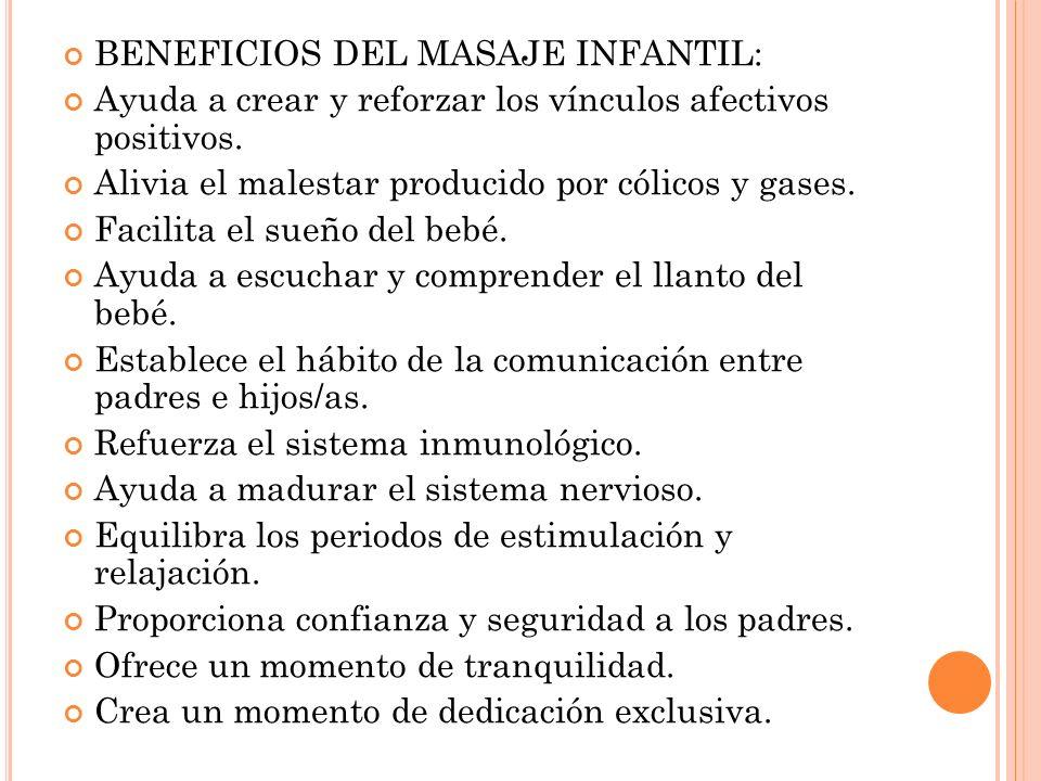 BENEFICIOS DEL MASAJE INFANTIL: