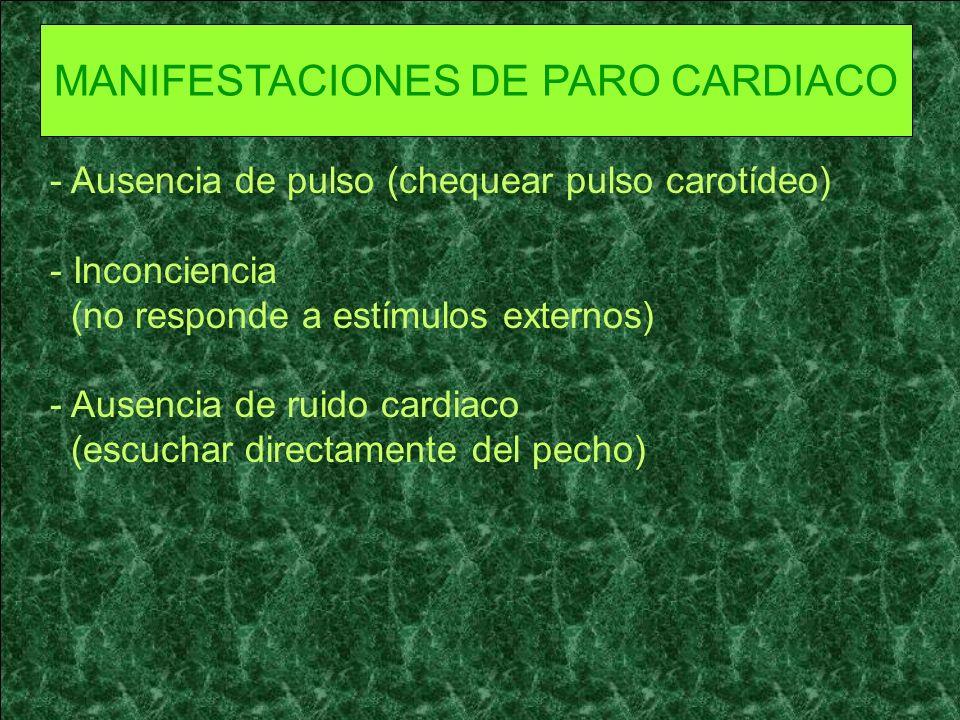 MANIFESTACIONES DE PARO CARDIACO