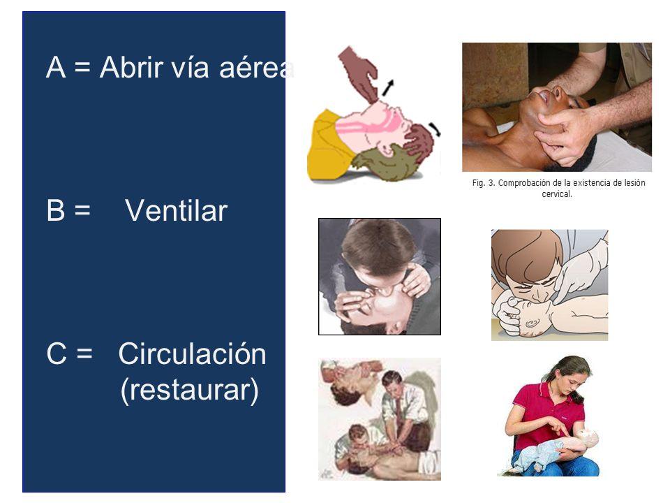 A = Abrir vía aérea B = Ventilar C = Circulación (restaurar)