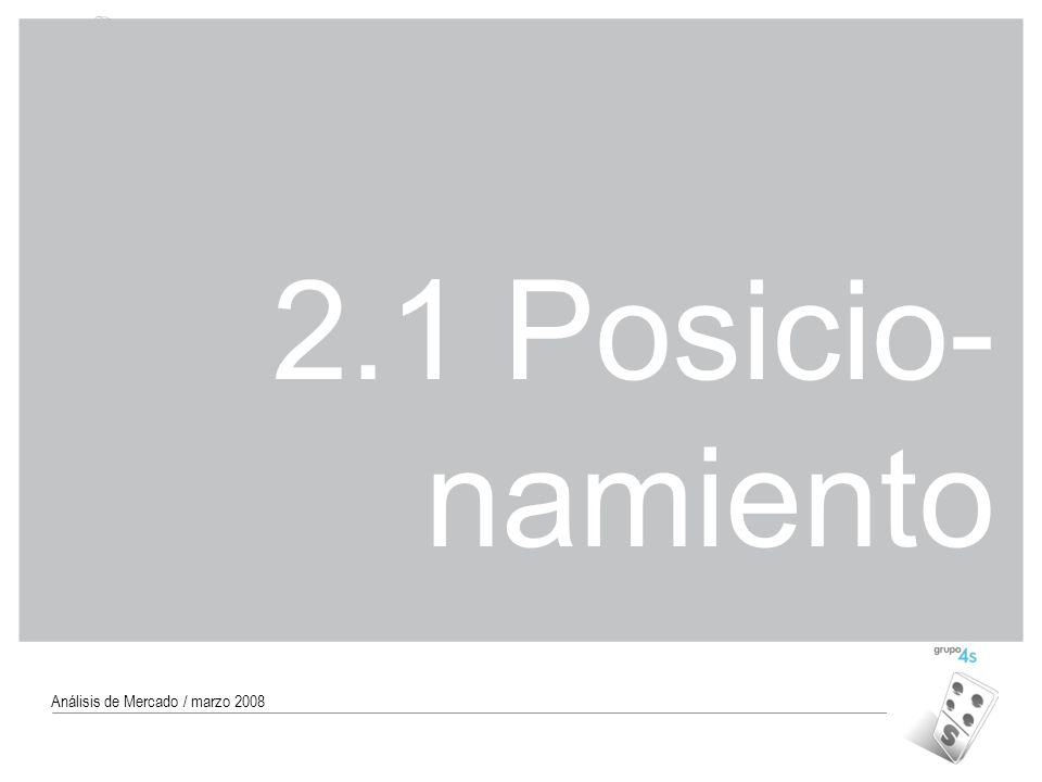 2.1 Posicio-namiento Análisis de Mercado / marzo 2008